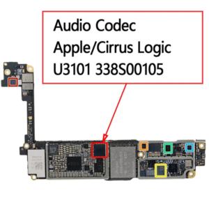 Микросхема аудиоконтроллер 338S00105 на iPhone 7 и ее расположение на плате